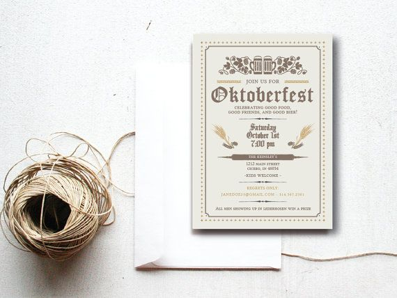 INSTANT DOWNLOAD Oktoberfest invitation / Oktoberfest party / Octoberfest invite / Beer themed party / German themed party