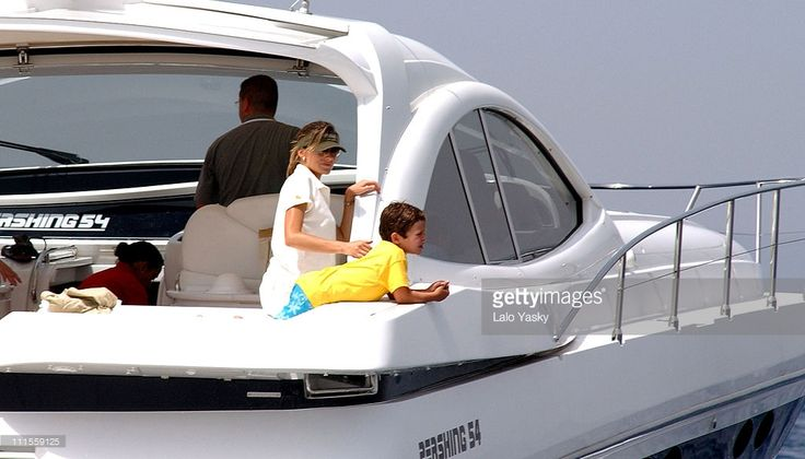Letizia Ortiz with her son, Felipe Juan Froilan during King Juan Carlos, King Herald and Prince Felipe, sail at the Regata Breitling at Regata Breitling. in Palma De Mallorca, Baleares, Spain.