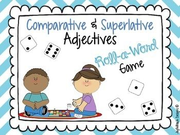 This game is perfect for reinforcing comparative and superlative adjectives, especially in a small group setting!  IT includes 6 game boards and two different recording sheets.  Basically, your students would just roll a die, create comparative and superlative adjectives forms of the word they rolled, and record along the way.