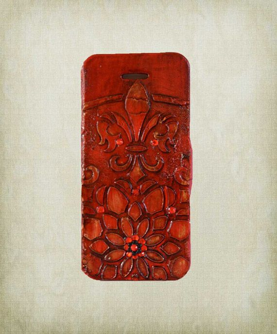 3d iPhone 5 case  Fleur de Lis Red iPhone by ShabbyChicToVintage, $55.00