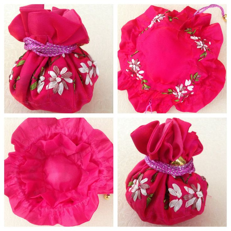 Ribbon-embroidered jewellery pull string pouch - CERISE PINK. Has 8 internal side pockets for fine necklaces or chains, earrings & rings. The central compartment is for bangles, bracelets & larger pendant necklaces @ AUD$10.00 + postage or local pick up available.
