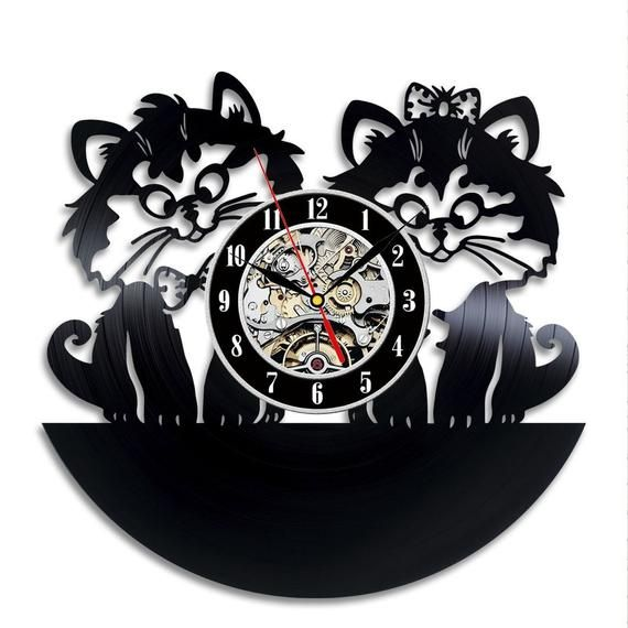 Best Original Wall Clock Made Of Vinyl Record Which Will Definitely Make Everyone Fall In Love With Your Place Clock Details Wall Clock Cat Clock Cat Wall
