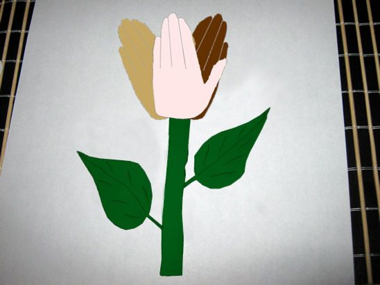 151 300x225 step How to Make a Peace Handprints Flower Craft Idea for Martin Luther King Day