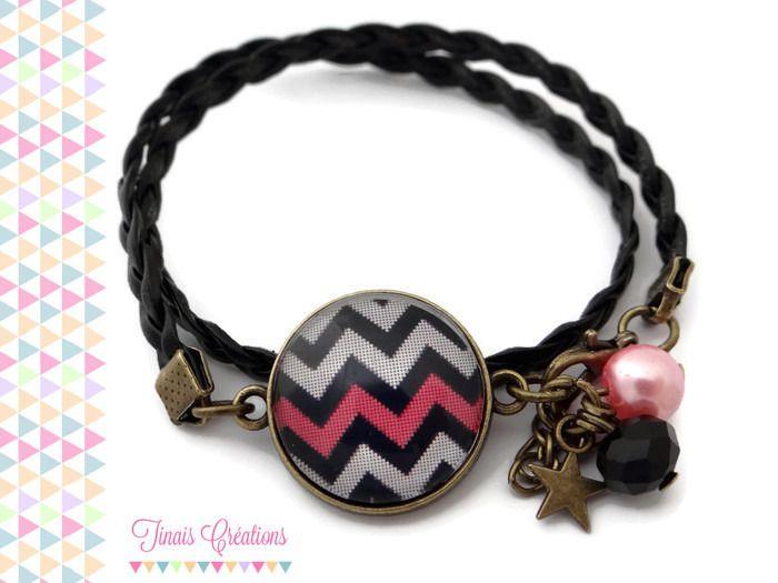 Bracelet cabochon - Chevron noir et rose - perles breloque étoile verre bronze : Bracelet par tinais-creations