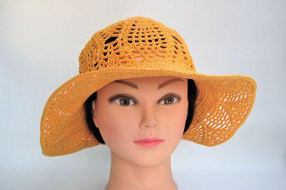 Crochet Beanie / Summer Orange Hat / Lace Cotton Hat / Cloche