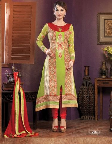 Heavy designer fancy Light Green coloured semi stitched salwar suit