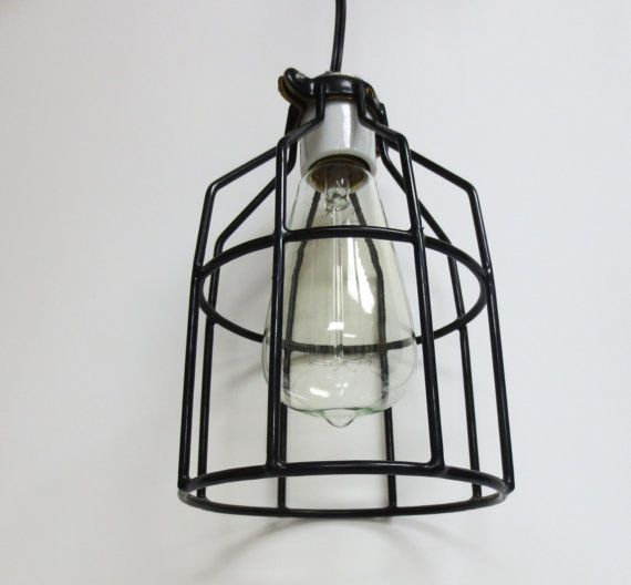 Hanging light fixture with industrial cage in by dormousevintage, $35.00