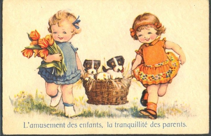 KH033 Fillettes Corbeille DE Chien Couple OF Girls Basket OF Puppies Dogs Tulips | eBay