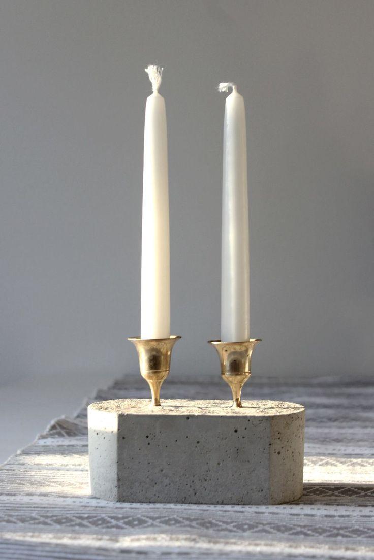 DIY concrete + brass