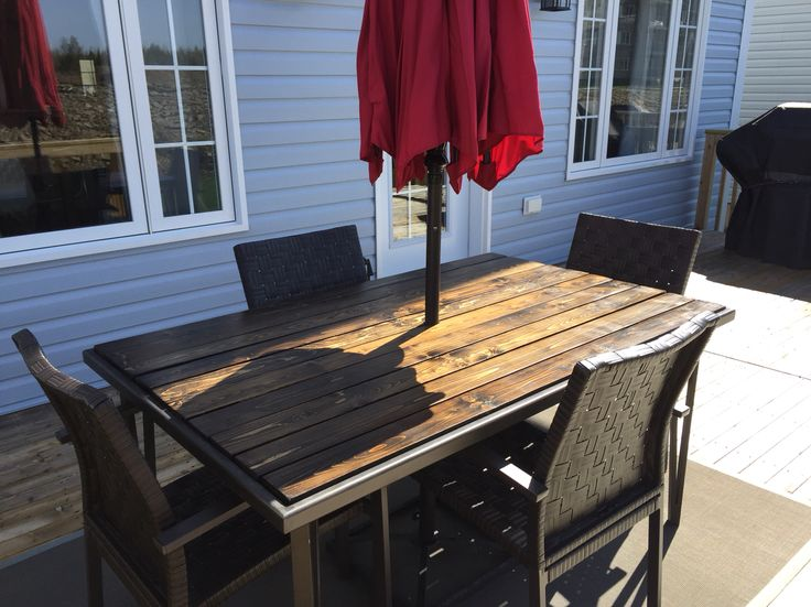 Awesome New Wooden Top For The Patio Table To Replace The Glass Top That Broke.  Great
