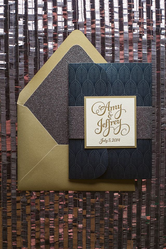 KATHRYN Suite Glitter Pocket Fold Package, navy, gold, grey, glitter wedding invitations, pocket folder for wedding invitations, letterpress wedding invitations, whimsical wedding invitations, art deco