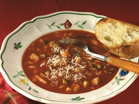 Chicken-Tomato-Basil Soup - Enjoy this hearty soup that's made with chicken and Progresso® tomato basil soup and served with cheese - ready in 30 minutes.