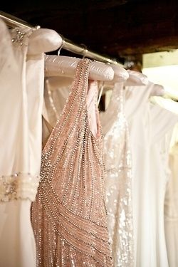 vintage-inspired bridesmaid dresses with shimmering details | repin via: a perfect palette