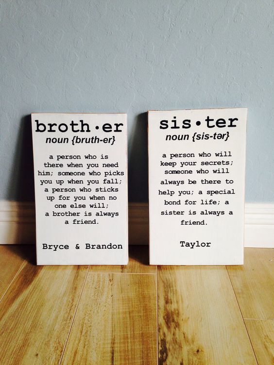 Brother OR Sister sign distressed edges by CaroneCreations, $28.00
