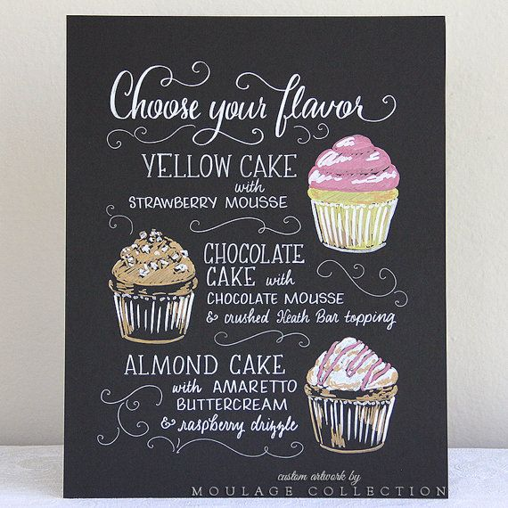 Custom cupcake menu 11x14 art board ink by MoulageCollection