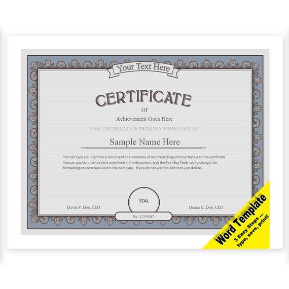 Certificate Of Achievement Word Template Prepossessing Certificate Editable Word Template Printable Instant Download You .