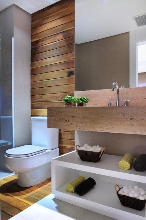 Decor: Banheiro com madeira!