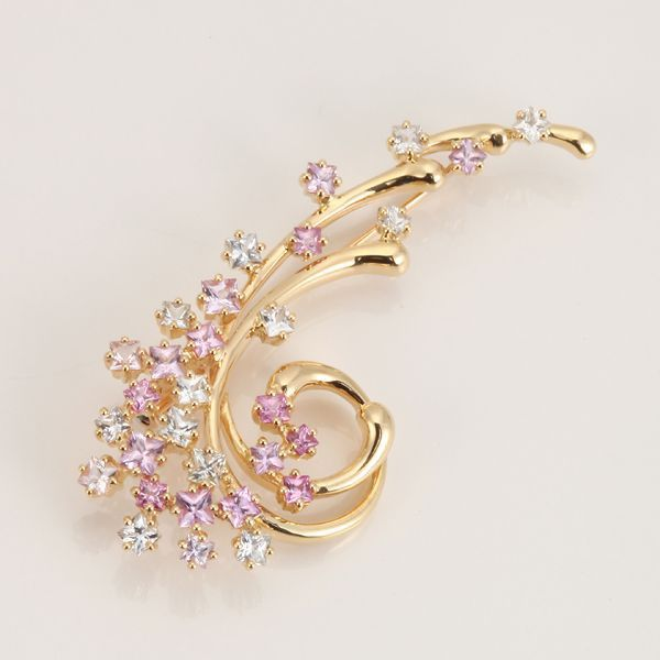 【中古】K18 サファイア ブローチ/新品同様・極美品・美品の中古ブランド時計を格安で提供いたします。