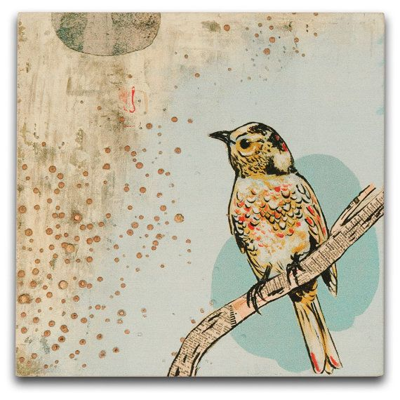 Dolan Geiman Bird Print on wood $55 - perfect nursery or new home gift.  A treasure like all his pieces.  #bedroom #living room #decor #birds #etsy #walls #nursery #kids: Wood, Dolan Geiman, Art Prints, Bird Art, Dg Mini, Evening Ii, April Evening