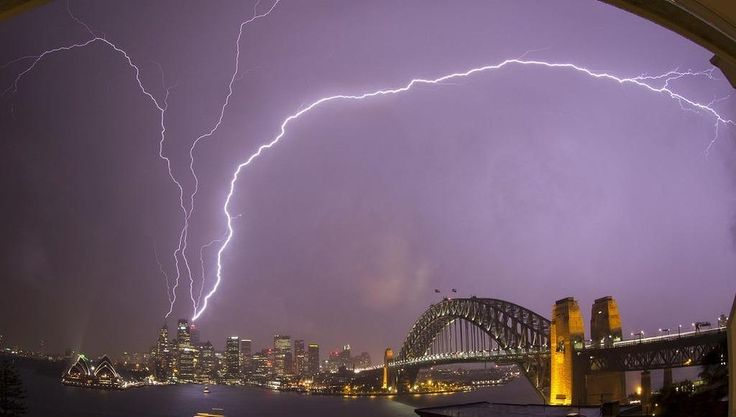 Lightning strikes Centrepoint Tower.