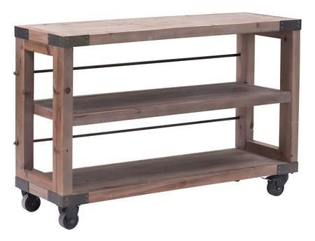 """98100 Fort Mason 47"""" Shelf with 4 Antique Metal Wheel and Solid Elm Timbers in Distressed Natural Finish"""