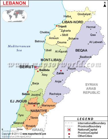 Known officially as the Republic of LEBANON, Lebanon is located at the juncture of Mediterranean Basin and Arabian hinterland. It surrounded by Israel to the south and Syria to the east and north. Muslim 54% (27% Sunni, 27% Shia), Christian 40.5%