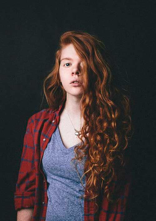 22.Long Red Curly Hairstyle