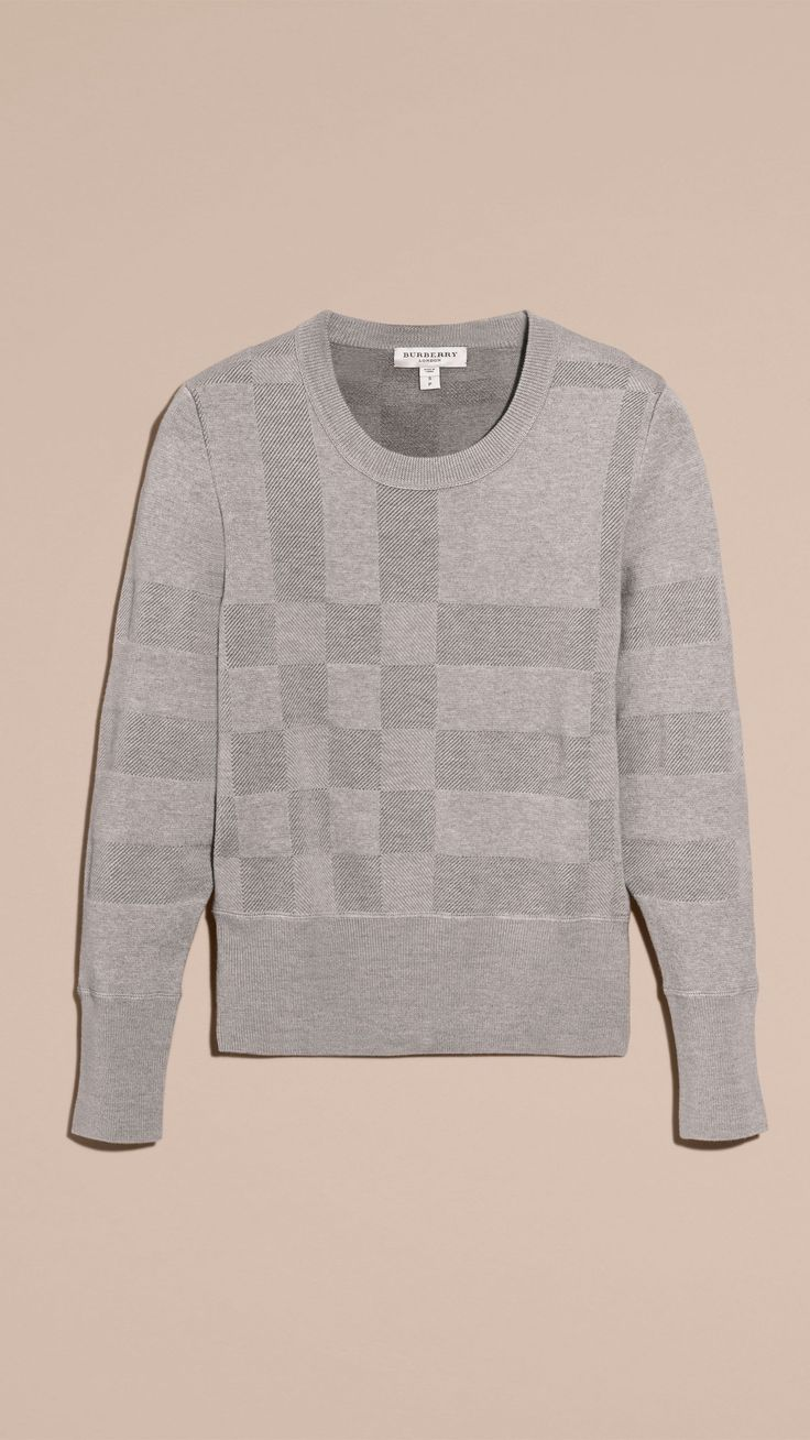 Check Knit Wool Blend Sweater in Mid Grey Melange - Women | Burberry Canada