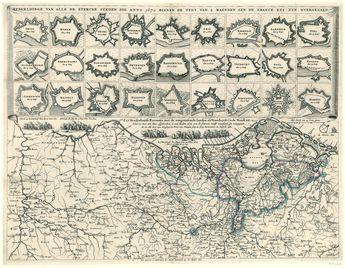 Afbeeldinge van alle de stercke steden die anno 1672 binnen de tydt van 2 maenden aen de France etc zyn overgegaen [en] d' 17 Neederlantse Proventie met de aengrensende landen als Vranckryck Ceule Munst. etc., anoniem, Marcus Willemsz. Doornick, 1674