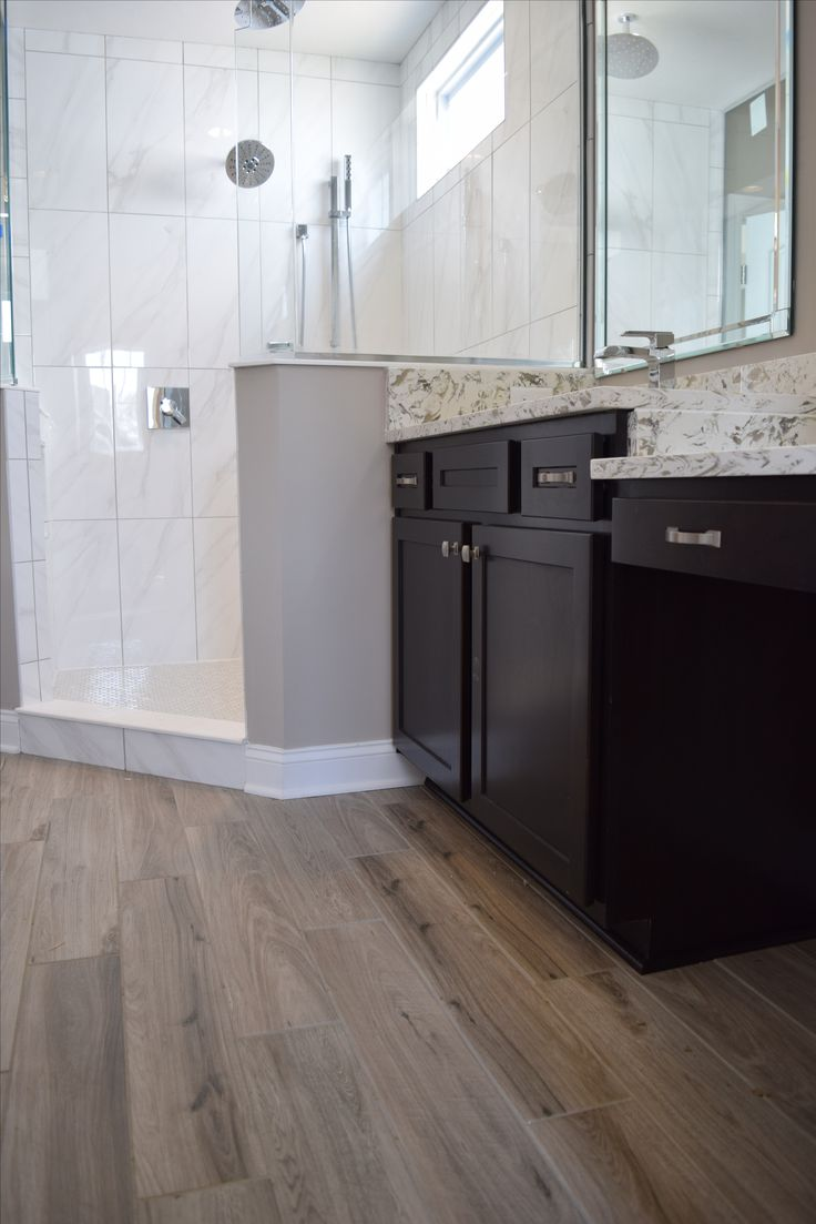 276 best bathroom ideas images on pinterest bathroom for Wood floor bathroom ideas