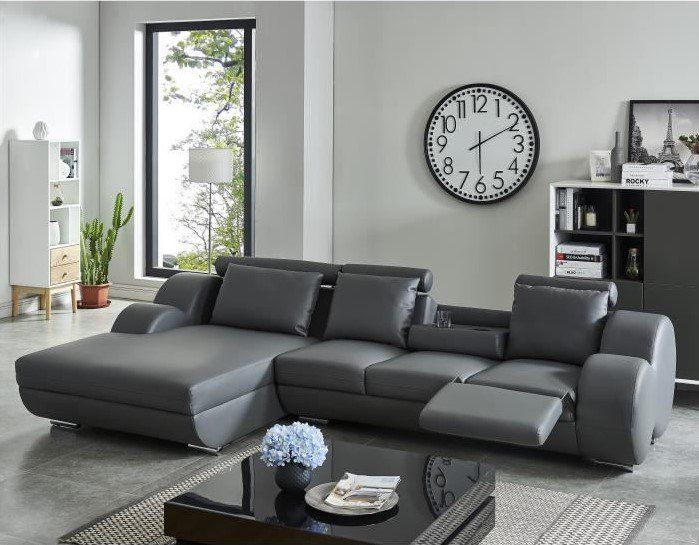DAMIEN Canapé de relaxation d'angle gauche fixe 6 places pas cher Simili gris anthracite Contemporain prix Canapé Cdiscount 899.99 € TTC au lieu de 1 999.99 €
