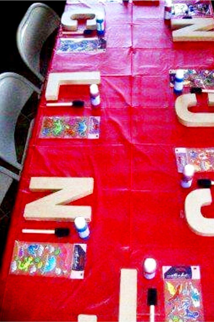 Idea for Birthday Party – Basteltisch für Kinder zum Schreiben von Holzbriefen für …   – Spiele Kindergeburtstag
