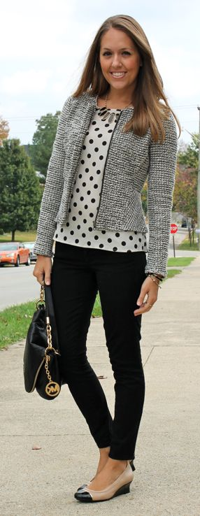 Nice conservative colored but comfortable outfit with shades of black and white. Polka dotted shirt under a grey wool cardigan. Black pants and flats.