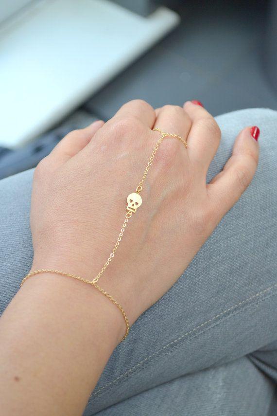 I NEED IT PLEASE Gold skull slave bracelet with chain ring finger. G2154 on Etsy, $21.00