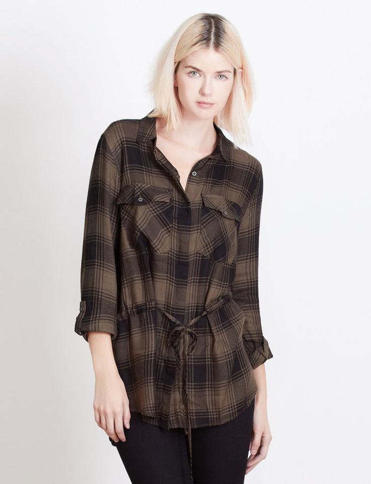 LE3NO Womens Plaid Button Down Tunic Shirt with Roll Up Sleeves