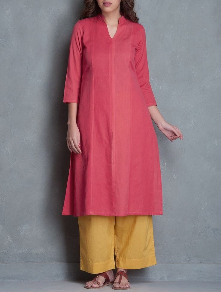 Peach Pink Mandarin Collar Linen Cotton Kurta Apparel Tunics & Kurtas Play by Colors Handmade Mangalgiri
