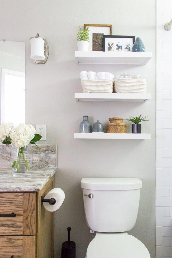 Floating Shelves Above The Toilet Alaskan Bathroom Makeover Reveal Shades Of French Cou Floating Shelves Bathroom Bathroom Decor Small Bathroom Decor