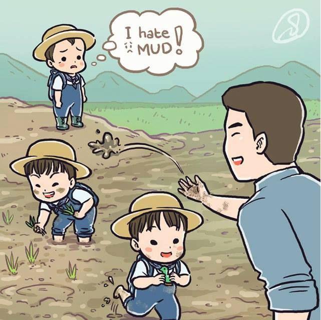 Daehan Minguk Manse- fanart, play on farm with daddy.