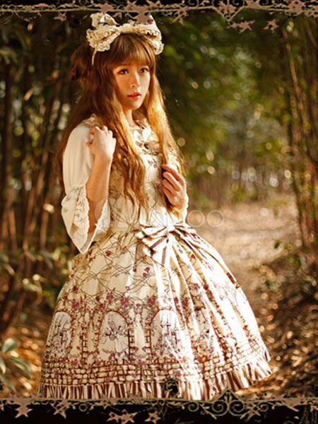 Sweet Cotton Bow Floral Print Cute Lolita Jumper Skirt - Milanoo.com