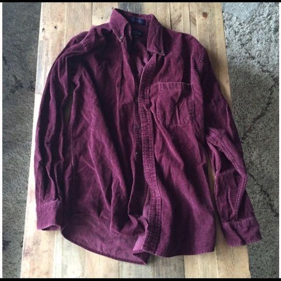 Brandy Melville Vintage Burgundy Shirt Purchased from the vintage rack at the Santa Monica brandy Melville location! Burgundy oversized corduroy shirt! Jackets & Coats Utility Jackets