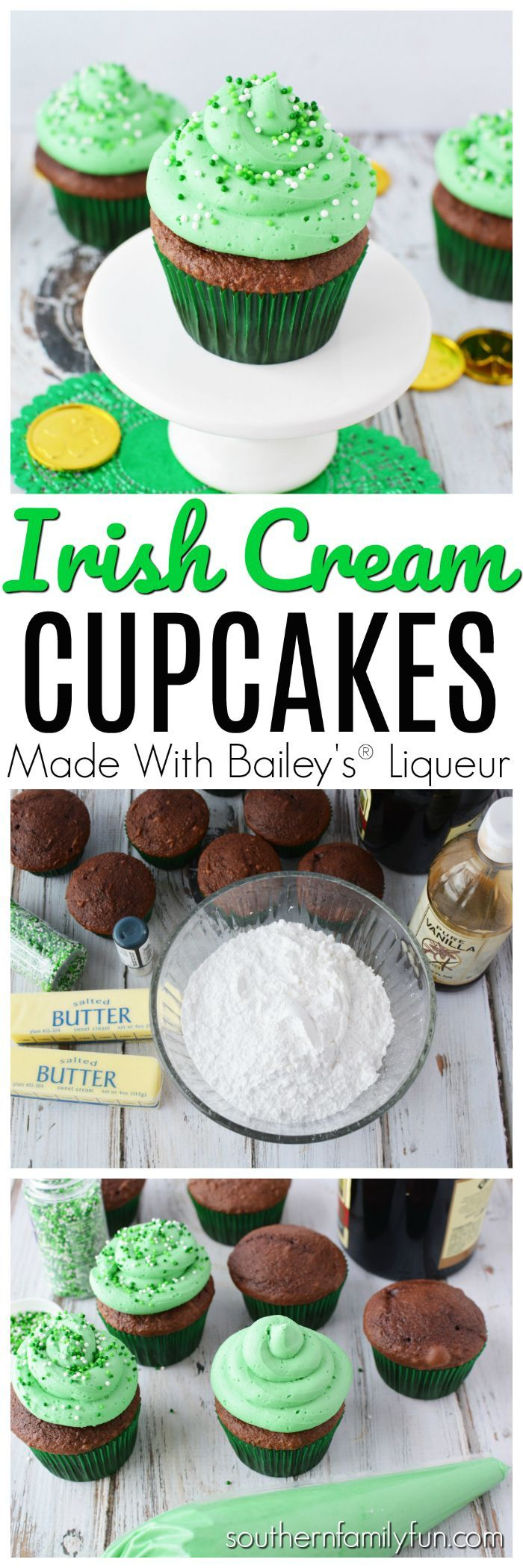 Incredibly delicious Irish Cream Cupcakes made with Baileys®️️ These cupcakes are perfect for your St. Patrick's Day festivities. The end result is delicious cupcakes that someone will have to slap your hand to get you to stop eating.  Irish Cream Cupcakes for the win! #IrishCreamCupcakes #StPatricksDayRecipes via @winonarogers