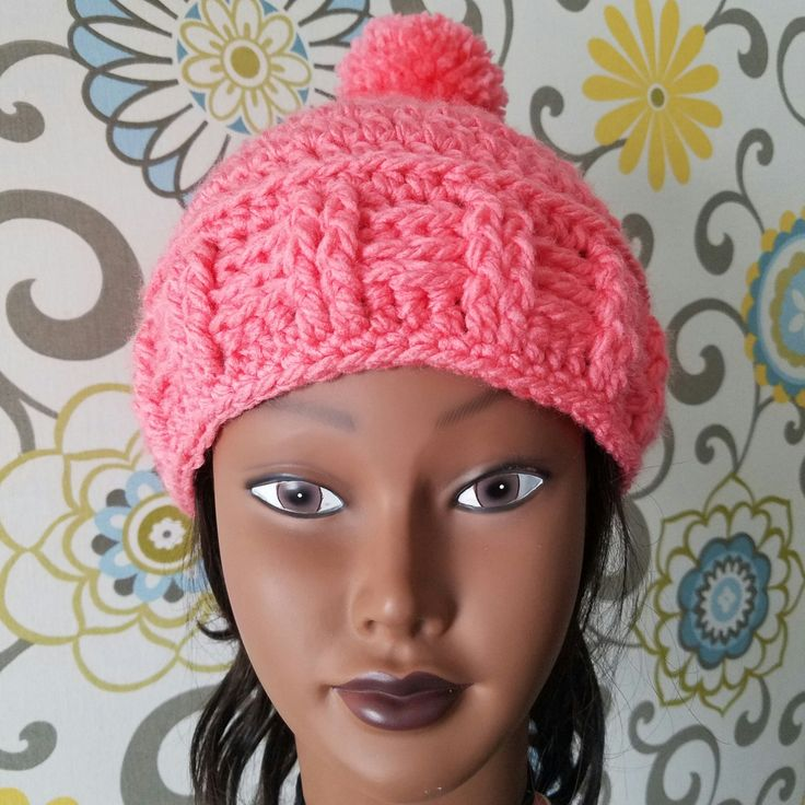 Crochet hat, pink hat, soft yarn hat, chunky hat, pompom hat, bulky hat, winter hat for women, bobble hat, womens hat, handmade winter hat by TheYarningPot on Etsy