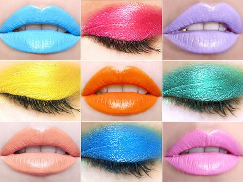 Different shades of pretty colorful makeup for eyes and lips