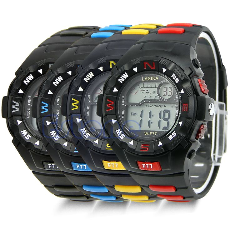 """• 100% brand new and high quality. • Case material: Stainless steel. • Band material: Rubber. • Case Diameter: 3.9cm/1.53""""(approx) • Colors: Black/Blue/Red/Yellow"""