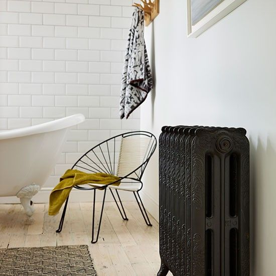 White modern bathroom with black radiator | Decorating