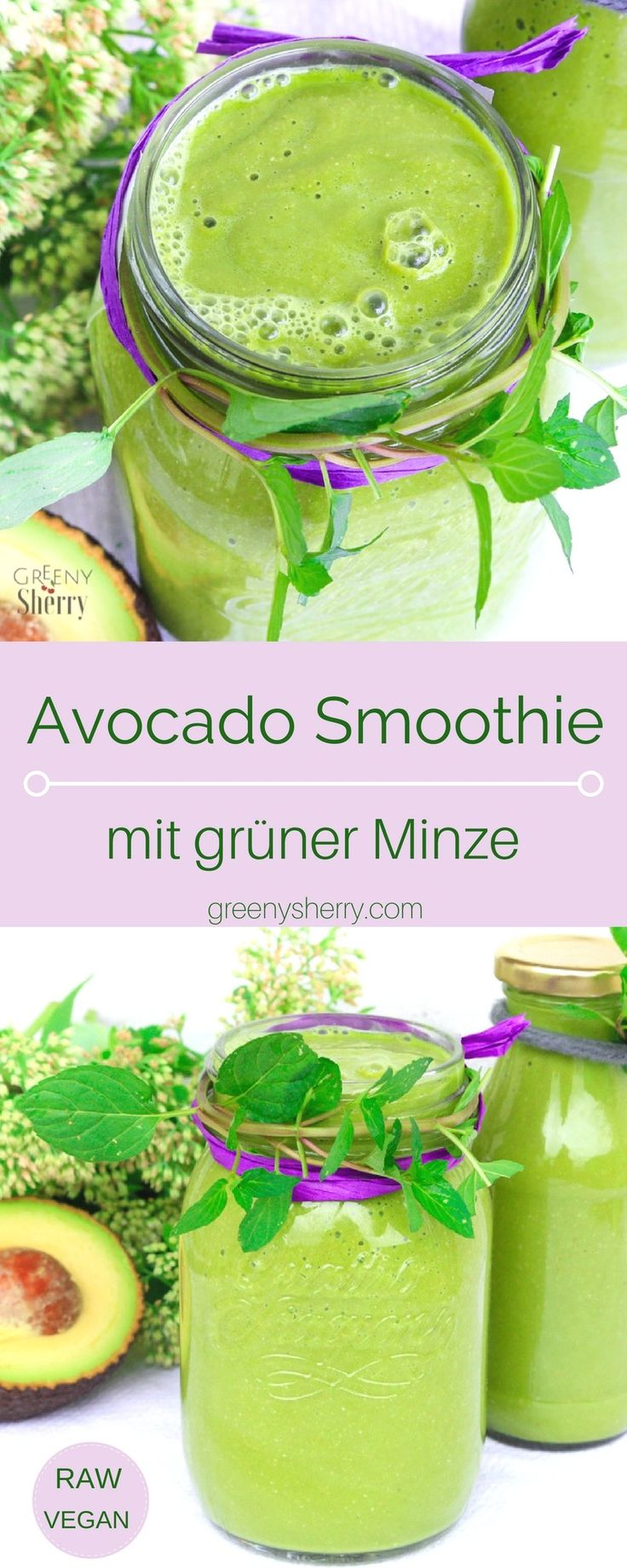 Cremiger Superfood Avocado Smoothie mit grüner Minze (vegan) www.greenysherry.com (Raw Vegan Recipes)