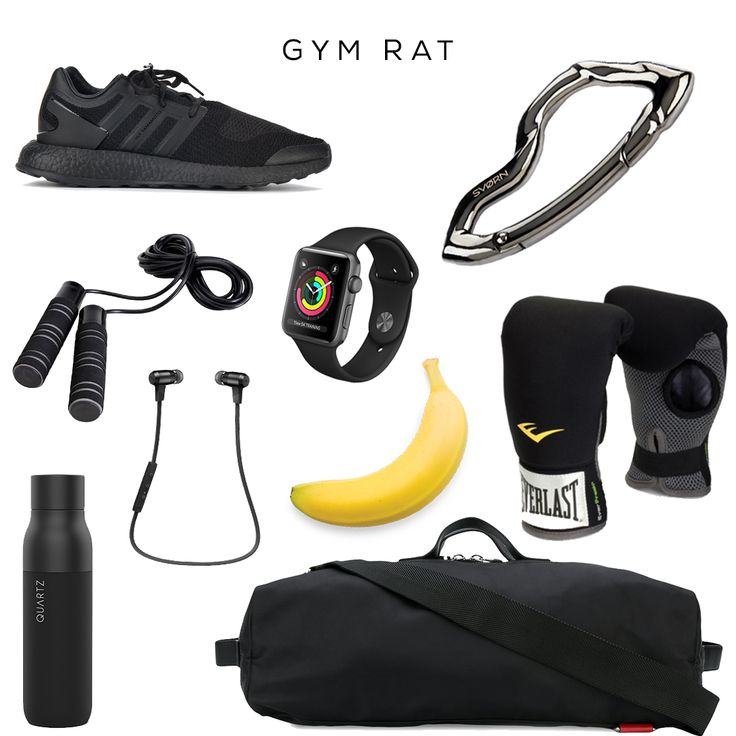 Gym Rat  Clockwise (starting from top left): PureBoost Triple sneakers by Y-3, Watch yb APPLE, Arcus carabiner keychain by SVORN, Neoprence Heavy Bag Boxing Gloves by EVERLAST, Banana by your local grocery store, Gym bag yb MCQ ALEXANDER MCQUEEN,Wireless Bluetooth Headphones by NuForce, Water Bottle by QUARTZ,Fitness Jump Rope by ProForm   #sneakers #y3 #adidas #edc #everydaycarry #accessories #carabiner #keychain #gear #mensaccessories #gym #apple #gadget #box #training  #mensstyle #gymrat