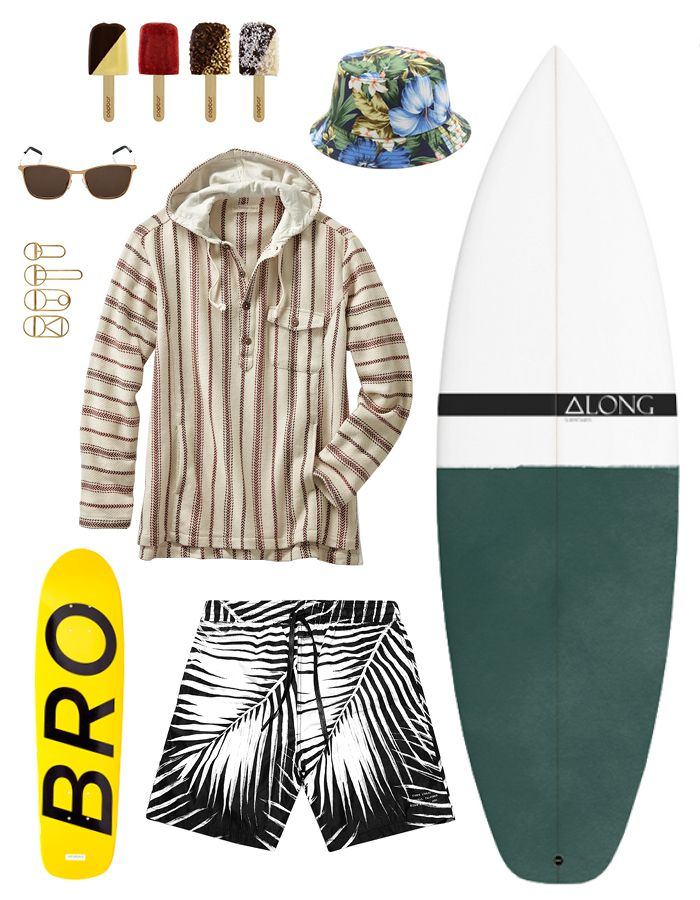 PopBar miniPops, price upon request; pop-bar.com; Gitman Vintage Aloha bucket hat, $80; eastdane.com; Along surfboard, price upon request; along.fm; Stampd black palm swim shorts, $90; stampd.com; Saturdays X Shut skateboard deck, $65; saturdaysnyc.com; Saint Laurent square-framed metal sunglasses, $339; matchesfashion.com; Vessel crest bottle opener, from $44; 11main.com; Saturdays Christenson Dead sled, $1,750; saturdaysnyc.com; The Territory Ahead nueva baja pullover, $96; ...