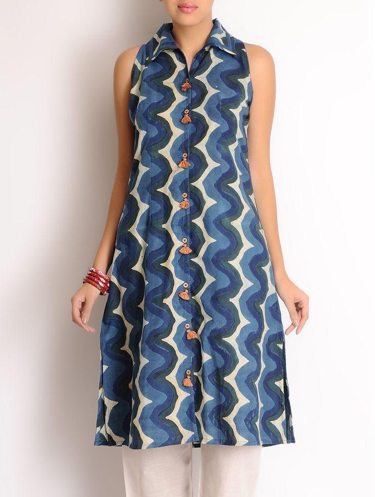 Buy Indigo-Olive-Ivory Zig-Zag Hand Block Printed Cotton Tunic Online at Jaypore.com