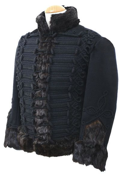 Royal Artillery Pelisse circa 1815  A faithful copy of the Regimental Pelisse made in best dark blue military grade wool with black russia lace and black wool covered bosses. The fur is bought in especially for this item it is a long, very fine goat hair that is very similiar to the original fur used. The back of the pelisse has russia lace in the correct pattern also.